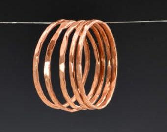 Set of 5 Super Thin Copper Rings, Copper Ring, Stackable Ring, Stacking Ring, Hammered Rings, Copper Band, Arthritis Ring, Stack Ring, Alari