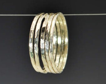 Set of 5 Super Thin Sterling Silver Stackable Rings, Stack Rings, Stacking Rings, Silver Ring Set, Super Thin Rings