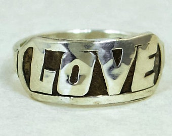 Love Ring, Retro Ring, Silver Jewelry, Gift For Her, Valentines Day, Silver Love Ring, Love  Rings, Silver lovers Ring, Vintage Love Ring