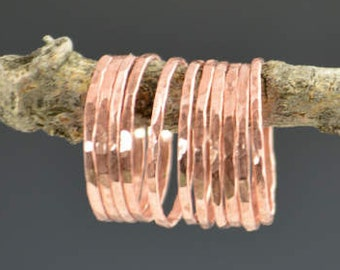 Set of 10 Thin Copper Stackable Rings, Copper Ring, Stack Ring, Arthritis Ring, Stacking Ring, Stackable Ring, Copper Band, Hammered Ring