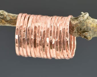 Set of 15 Thin Copper Stackable Rings, Copper Rings, Stackable Rings, Stacking Rings, Copper Ring, Hammered Copper Rings
