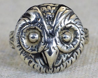 Owl Ring, Owl Face Ring, Silver Owl Ring, Owl Jewelry, Bird Ring, Animal Ring, Statement Ring, Vintage Owl Ring, Sterling Owl Ring, Owl Ring