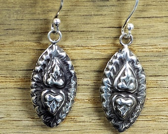 Buddha Earrings, Heart Earrings, Bohemian Earrings, boho earrings, Tribal Earrings, Silver Earrings,  Light Earrings, Drop Earrings