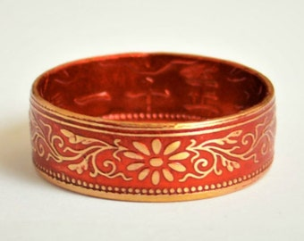 Coin Ring, Red Ring, Japanese Ring, Bronze Ring, Japanese Coin, Japanese Jewelry, Coin Rings, Japanese Art, Coin Art, Japanese Coin Ring