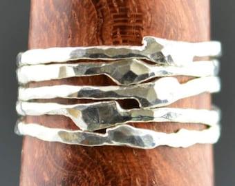 Freeform Silver Ring, Stamped Ring, Gemstone Ring, Stacking Ring, Hammered Ring, Engraved Ring, Mother's Ring, Stack Ring, Name Ring, Alari