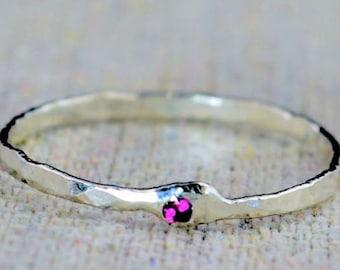Freeform Ruby Ring, Stack Ring, July Birthstone, Stacking Ring, Ruby Ring, Mother's Ring, Hammered Ring, Asymmetrical Ring, Birthstone RIngs