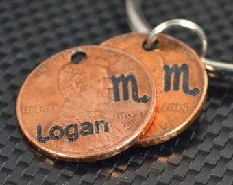 Scorpio Keychain, Scorpio Key Chain, Birthday Key Chain, Birthday Keychain, Scorpio Birthday, Lucky Penny, Penny Keychain, Birthday Gift