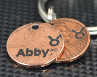 Taurus Keychain, Taurus Key Chain, Birthday Key Chain, Birthday Keychain, Taurus Birthday, Lucky Penny, Penny Keychain, Birthday Gift