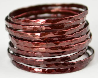 Super Thin Cherry Copper Stackable Ring(s), Copper Ring, Skinny Ring, Copper Band, Red Copper Ring, Hammered Copper Ring, Arthritis Ring