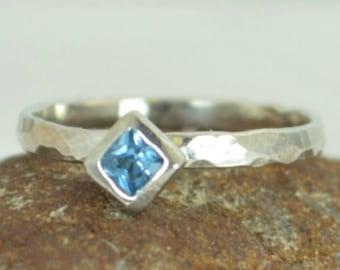 Square Aquamarine Ring, Aquamarine White Gold Ring, March Birthstone Ring, Square Stone Mothers Ring, Square Stone Ring, Aquamarine Ring