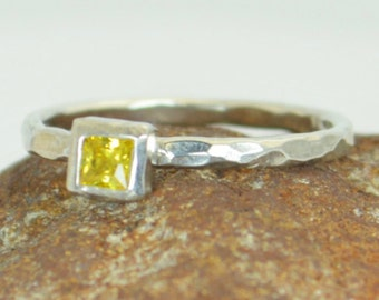 Square Topaz Ring, Topaz White Gold Ring, Novembers Birthstone Ring, Square Stone Mothers Ring, Square Stone Ring, White Gold Topaz Ring