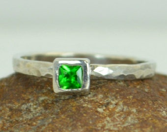Square Emerald Ring, Emerald White Gold Ring, May's Birthstone, Square Stone Mothers Ring, Square Stone Ring, Emerald Ring