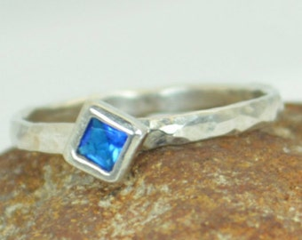 Square Zircon Ring, Blue Zircon White Gold Ring, Decembers Birthstone Ring, Square Stone Mothers Ring, Square Stone Ring,