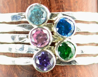 Grab 5 - Dainty Silver Mothers Rings, Mother's Ring, Grandmas Rings, Mommy Ring, Mothers Jewelry, Mothers Ring, Gift for Mom