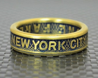 New York City Coin Ring, Brass Coin Ring, New York City jewelry, Subway Token Ring, Blue and Gold Ring, Blue Ring, New York Gift , NYC Ring