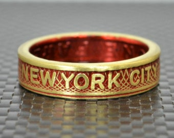 New York City Coin Ring, Brass Coin Ring, New York City jewelry, Subway Token Ring, Red and Gold Ring, Red Ring, New York Gift , NYC Ring
