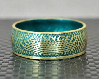 Turquoise Los Angeles Coin Ring, Turquoise Ring, LA Coin Ring,  Unusual Ring, Brass Ring, Coin Art, Los Angeles Art, Brass Band, Coin Ring
