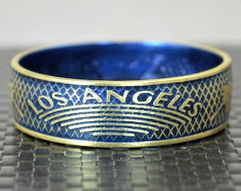 Blue Los Angeles Coin Ring, Blue Ring, LA Coin Ring, Gift for a Dodger Fan, Unusual Ring, Brass Ring, Coin Art, Los Angeles Art, Brass Band