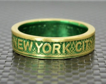 New York City Coin Ring, Brass Coin Ring, New York City jewelry, Subway Token Ring, Green and Gold Ring, Green Ring, New York Gift, NYC Ring