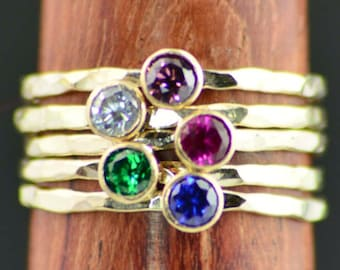 Grab 5 - Dainty Gold Mothers Rings, Mother's Ring, Gold Stacking Rings, Gold Mommy Ring, Mothers Jewelry, Mothers Ring, Gold Gift for Mom