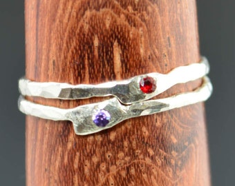 Set of 2 Freeform Rings, Hammered Ring, Freeform Stone Ring, Freeform Silver Ring, Flush Set Stone Ring, Mother's Rings, Mom Ring, Alari