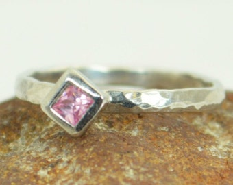 Square Pink Tourmaline Ring, Tourmaline White Gold Ring, Octobers Birthstone Ring, Square Stone Mothers Ring, Square Stone Ring
