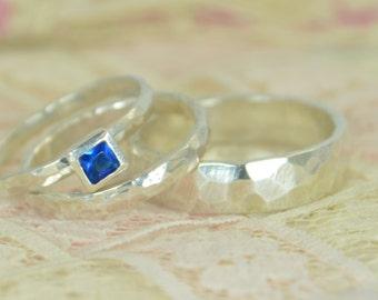 Square Blue Zircon Engagement Ring, Sterling Silver, Blue Zircon Wedding Ring Set, Rustic Wedding Ring Set, December Birthstone, Blue Zircon