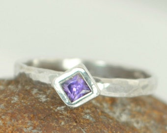 Square Amethyst Ring, Amethyst Solitaire, Amethyst White Gold Ring, February Birthstone Ring, Square Stone Mothers Ring, Square Stone Ring