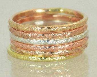 Bohemian Stacking Rings, BoHo Rings, Tribal Rings, V Stamp Stacking Ring, Rustic Ring, Sterling Ring, Brass Ring, Bronze Ring, Gold Ring-G13