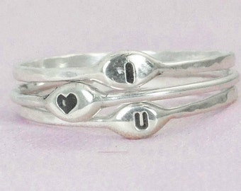 I Love You Rings, Gift for Her, Promise Ring, Promise Rings, Initial Rings, Silver Initial Rings, Custom Initial Rings, Dainty Initial Rings