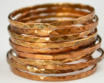 Super Thin Golden Copper Stackable Ring(s), Copper Ring, Skinny Ring, Copper Band, Gold Copper Ring, Hammered Ring, Arthritis Ring, Alari