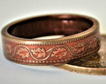 Rose Ring, Coin Ring, Vine Ring, Copper Ring, Canadian Penny, Coin Rings, Coin Art,  Floral Ring, Gift for Her, Unique Ring, Pink Ring, coin