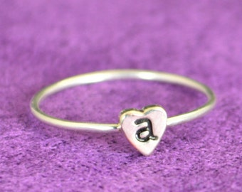 Monogram Heart Ring, Initial Heart Ring, Silver Heart Ring, Personalized Heart Ring, Sterling Heart Ring, Initial Ring, Silver Monogram Ring