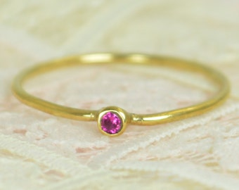 Tiny Ruby Ring Set, Solid Gold Wedding Set, Stacking Ring, Solid 14k Gold Ruby Ring, July Birthstone, Bridal Set, Gold, Engagement Rings