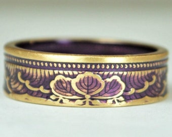 Japanese Coin Ring, Purple Ring, Wave Ring, Japanese Art, Brass Ring, Purple band. unique ring, bohemian ring, Art nouveau, 21st anniversary