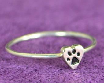 Silver Dog Print Ring, Pet Jewelry, Monogram Heart Ring, Silver Heart Ring, Personalized Heart Ring, Sterling Heart Ring, Silver Ring