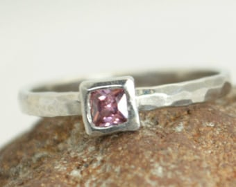 Square Alexandrite Ring, Alexandrite White Gold Ring, June's Birthstone Ring, Square Stone Mothers Ring, Square Stone Ring, Alexandrite Ring