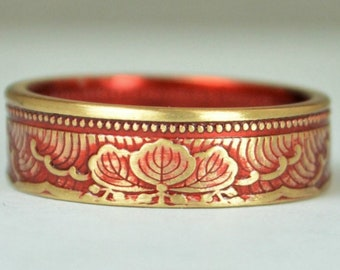 Japanese Coin Ring, Red Ring, Wave Ring, Japanese Art, Brass Ring, Red band. unique ring, bohemian ring, Art nouveau, 21st anniversary