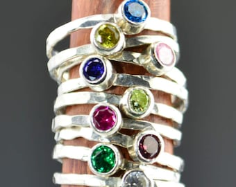 Classic Sterling Silver Birthstone Rings, Gemstone Ring, Birthstone Ring, Thin Silver Stackable Rings,  Gemstone Rings, Birthstone Jewelry