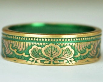 Japanese Coin Ring, Green Ring, Wave Ring, Japanese Art, Brass Ring, Green band. unique ring, bohemian ring, Art nouveau, 21st anniversary
