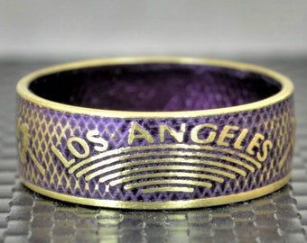 Purple Los Angeles Coin Ring, Purple Ring, LA Coin Ring, Gift for a Lakers Fan, Unusual Ring, Coin Art, Los Angeles Art, Brass Band