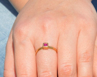 Square Ruby Ring, Gold Filled Ruby Ring, July's  Birthstone Ring, Square Stone Mothers Ring, Square Stone Ring, Gold Ruby Ring, Gold Ring