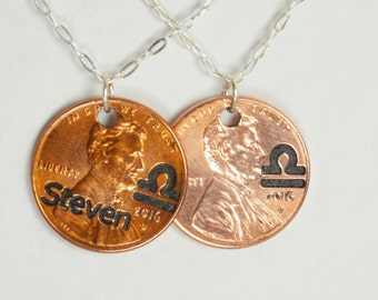 Libra Necklace, Libra Pendant, Birthday Necklace, Birthday Necklace, Libra Birthday, Lucky Penny, Penny Necklace, Birthday Gift, Libra