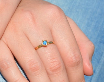 Square Blue Zircon Ring, Gold Filled Blue Zircon Ring, Decembers Birthstone Ring, Square Stone Mothers Ring, Square Stone Ring, Gold Ring