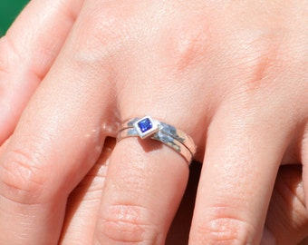 Square Sapphire Ring, Sapphire Solitaire, Sapphire Silver Ring, September Birthstone Ring, Square Stone Mothers Ring, Square Stone Ring