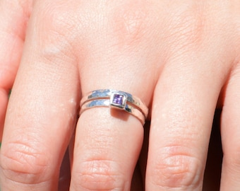 Square Amethyst Ring, Amethyst Solitaire, Amethyst Silver Ring, February Birthstone, Square Stone Mothers Ring, Square Stone Ring, Silver