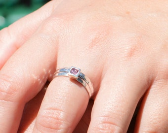 Square Alexandrite Ring, Alexandrite Solitaire, Alexandrite Silver Ring, June Birthstone Ring, Square Stone Mothers Ring, Square Stone Ring