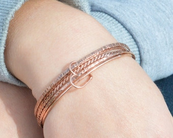 Set of 5 Thin Copper Bangles, Thin Bangle, Stacking Bangles, Pure Copper Bangle, Copper bracelet, stacking bangle, copper bangle