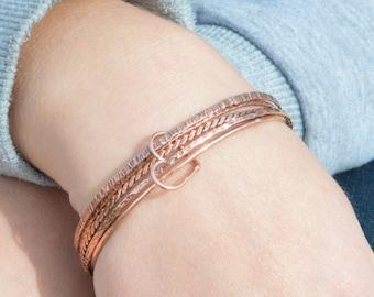 Set of 5 Thin Copper Bangles, Thin Bangle, Stacking Bangles, Pure Copper Bangle, Copper bracelet, stacking bangle, copper bangle