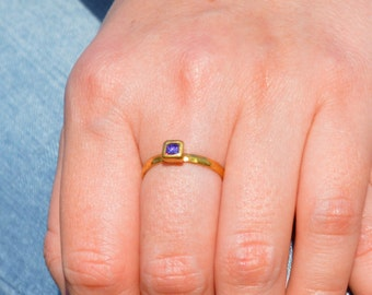 Square Amethyst Ring, Amethyst Solitaire, Gold Filled Amethyst Ring, February Birthstone, Square Stone Mothers Ring, Gold Square Stone Ring